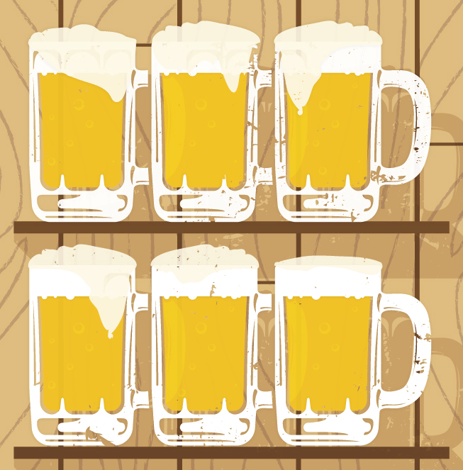 Beer Steins Vector Graphics